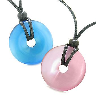Large Lucky Charms Coin Donuts Positive Powers Best Friends Sky Blue and Pink Cats Eye Necklaces