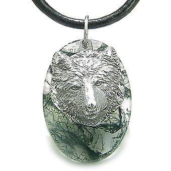Amulet Protection Wise Wolf Good Luck Powers Green Moss Agate Charm Pendant Necklace