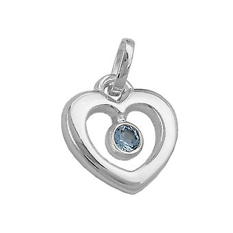 Pendant heart pendants with synthetic Blue Topaz 925 sterling silver