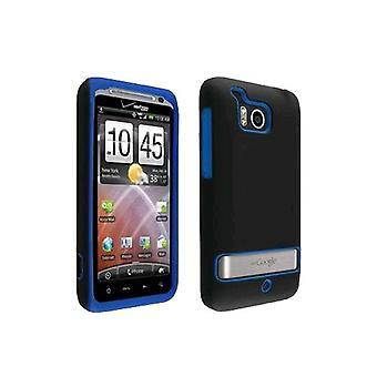 OEM Verizon HTC Thunderbolt 6400 Double Cover Case (zwart / blauw) (Bulk Packagin