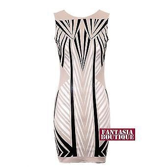 Ny Ladies Bodycon ermeløse Wetlook trekant mønster kvinners slank passende kjole