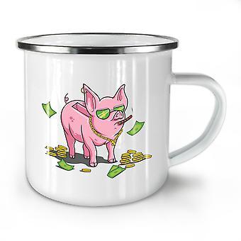 Rich Pig Funny Money NEW WhiteTea Coffee Enamel Mug10 oz | Wellcoda