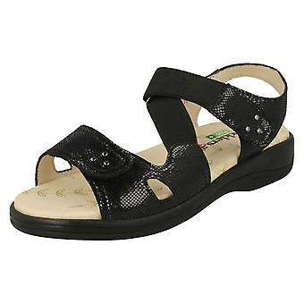 Ladies Padders Hook & Loop Fastening Sandals Cruise - Metallic Reptile Leather - UK Size 7 3E/4E - EU Size 41 - US Size 9