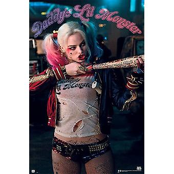 Suicide squad poster Harley Quinn Daddy's Lil Monster Margot Robbie, Jared Leto, will Smith, Cara Delevingne, Jay Courtney