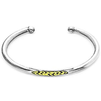 Anchor and Crew Trent Silver and Rope Bangle - Yellow Noir