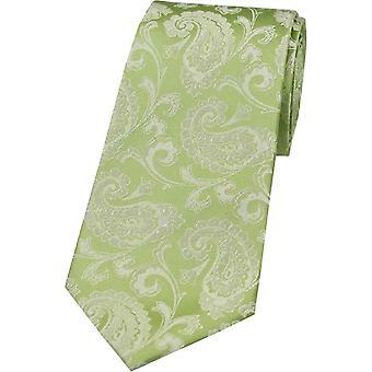 David Van Hagen Paisley Tonal Silk Tie - Lime Green