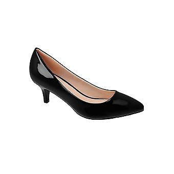 JLH022 Parker Ladies Low Kitten Court Patent Pointed Toe Office Heels Shoes