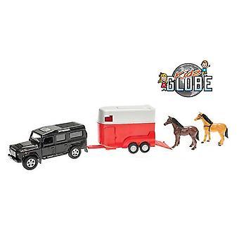 Kids Globe Pull-Back Land Rover mit Pferdeanhänger + 2 Pferde Schraubenset