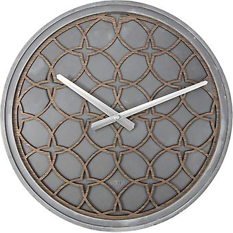 NEXTIME NE-3212BR Wand Uhr ø 39,5 Cm, Poly Harz/Holz, grau