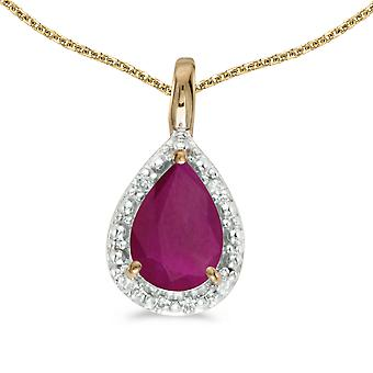 10k Yellow Gold Pear Ruby Pendant with 18