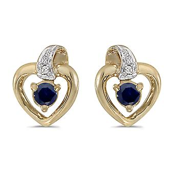 14k Yellow Gold Round Sapphire And Diamond Heart Earrings
