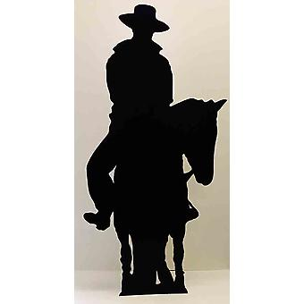 Cowboy on a Horse (Silhouette) (Western Themed) - Lifesize Cardboard Cutout / Standee