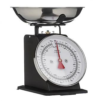 Matt Black Retro Style Kitchen Scale With Stainless Steel Bowl Max. Weight 5Kg