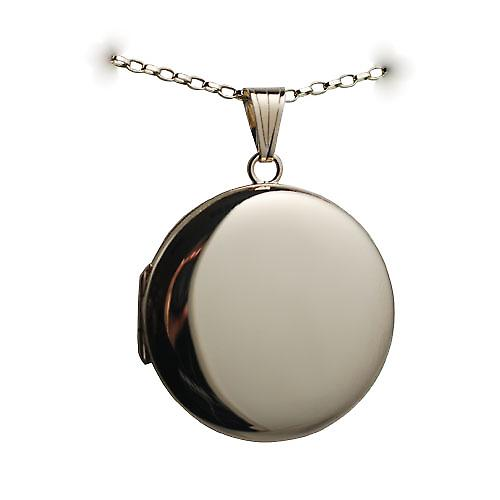 9ct Gold 29mm plain round Locket with a belcher Chain 16 inches Only Suitable for Children