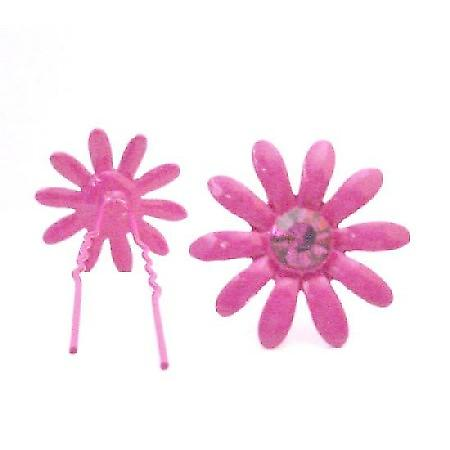 Girls Jewelry Fuchsia Flower Hair Pin Matching Crystals Jewelry Gift