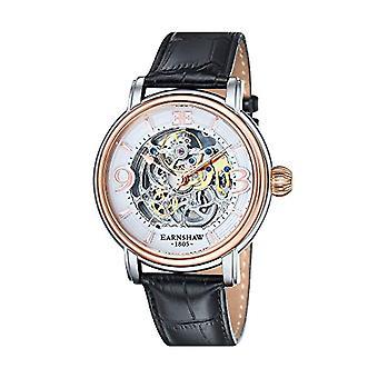Thomas Earnshaw ES-8011-06 men's wrist watch, leather strap, Black