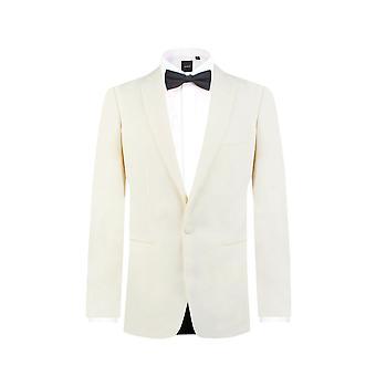 Dobell Mens bianco 2 pezzo Tuxedo vestibilità regolare tacca bavero sera cena vestito pantaloni neri