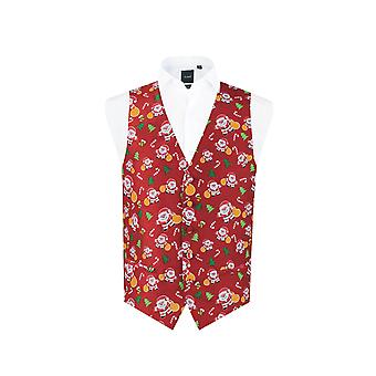 Dobell Mens Red Happy Santa Claus Christmas Waistcoat Regular Fit