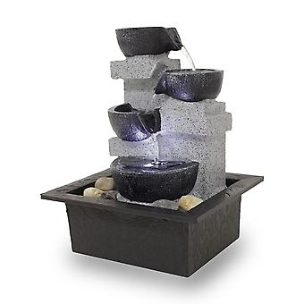 Room table fountain Dekobrunnen FoQuadrato with led 10863