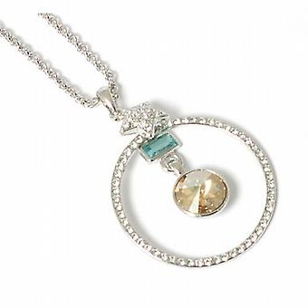 Park Lane Ladies Silvertone Glass Set Open Circle Pendant with Coloured Charms