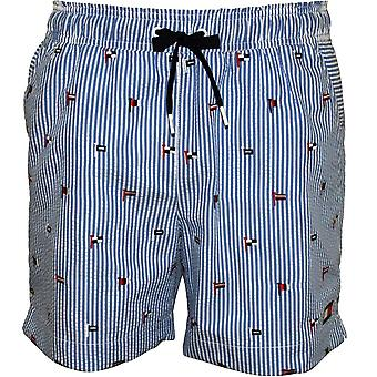 Tommy Hilfiger Flag Embroidery Stripes Seersucker Swim Shorts, Blue