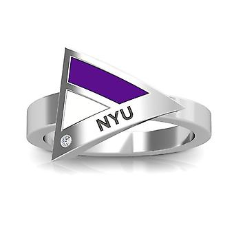 New York University Nyu Engraved Diamond Geometric Ring In Purple And White