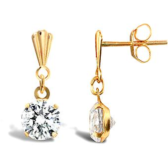 Jewelco London Ladies 9ct Yellow Gold White Round Brilliant Cubic Zirconia Solitaire Stud Earrings