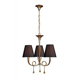 Mantra Paola Pendant 3 Light E14, Gold Painted With Black Shades & Amber Glass Droplets