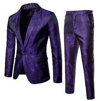 Allthemen Mens 2 Pieces Slim Fit Embroider Printed Floral Suit Blazer&Pants