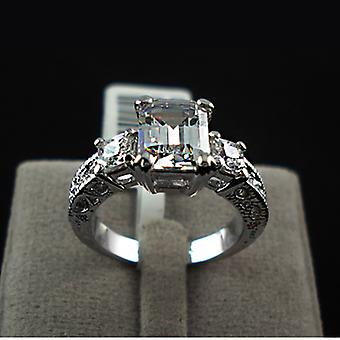 18K Gold Plated Emerald Cut Cubic Zirconia Ring
