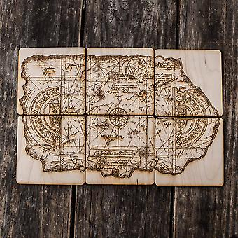 One eyed willie treasure map wood coaster set of six 4x4in raw wood