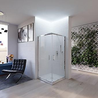 Boîte de douche transparente 6mm portes coulissantes cristal anti-cancer assemblage rapide