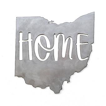 State - home - ohio - metal cut sign 15x14in