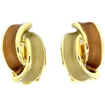 Brown & Cream Enamel & Gold Plated Overlapped Semi Hoop Stud Earrings