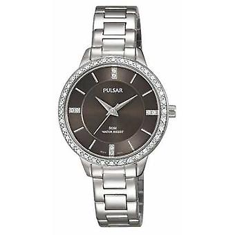 Pulsar Womens Stainless Steel Bracelet Black Dial PH8215X1 Watch