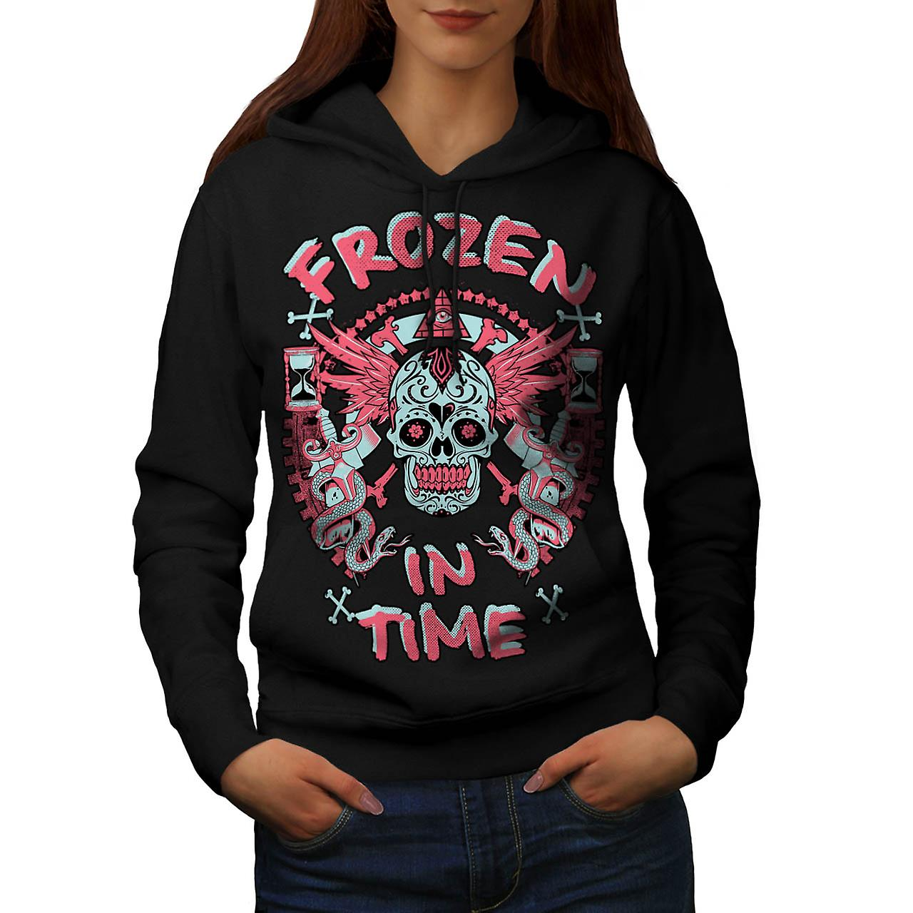 Frozen In Time Skull Secret Gang Women Black Hoodie | Wellcoda