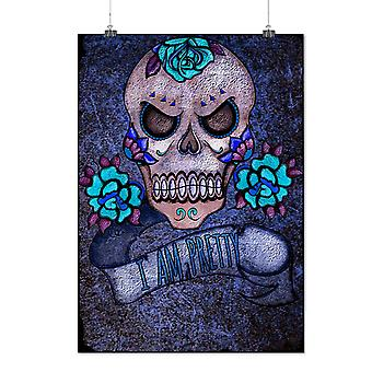 Matte or Glossy Poster with Pretty Metal Death Skull | Wellcoda | *y2884