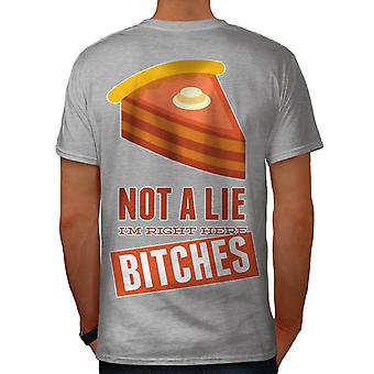 Right Here Pie Cool Funny Men Grey T-shirt Back | Wellcoda