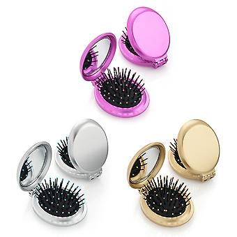 Metallic Oval Folding Brush & Compact Mirror Various Colours