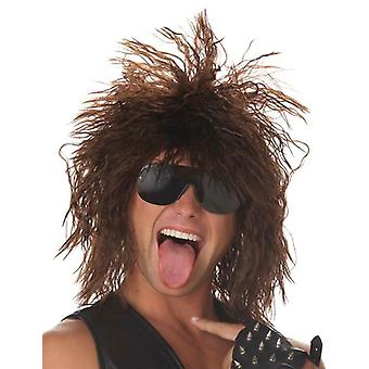 Rockin Dude 1980s Punk Brown Hard Rock Star Heavy Metal Men Costume Wig
