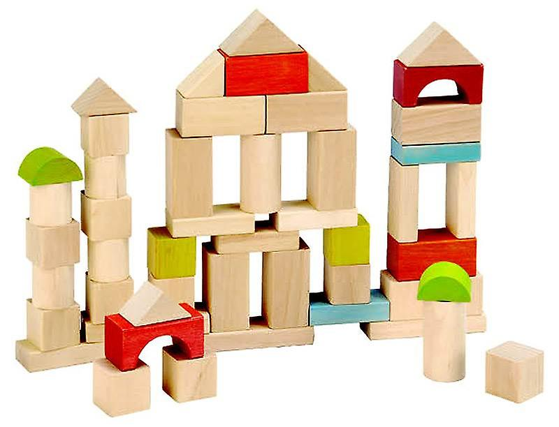 EverEarth™  50 Piece Wooden Building Blocks set 18m+ Natural Wood Toy
