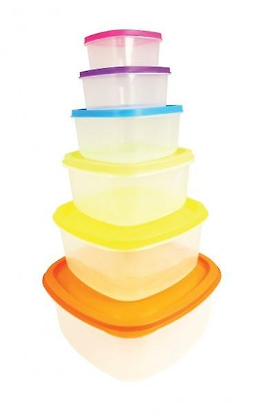 6 Pc Plastic Rainbow Coloured Lid Clear Storage Containers Set Microwavable Lunch Box