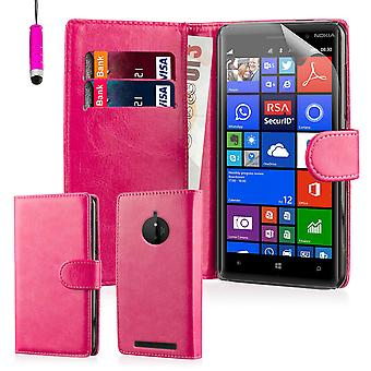 Book wallet case for Nokia Lumia 830 + stylus - Hot Pink