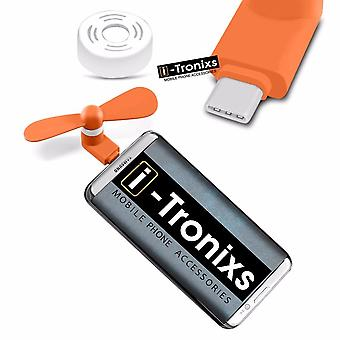 i-Tronixs Zopo Speed 8 - Type C Connector Mobile Cell Phone Portable Pocket Size Fan - Orange