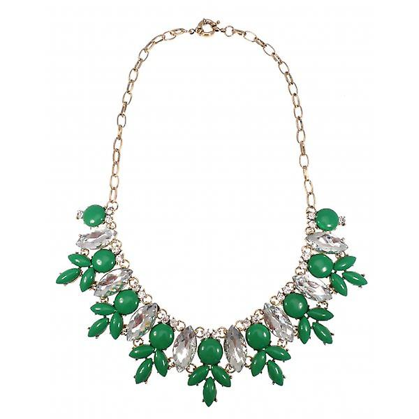 W.A.T Gold Style Green Statement Necklace With Clear Crystals