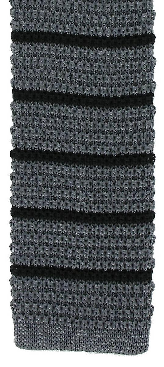 Michelsons of London Silk Knitted Striped Skinny Tie - Charcoal/Black