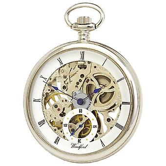 Woodford Chrome Plated Open Face Skeleton Pocket Watch - Silver