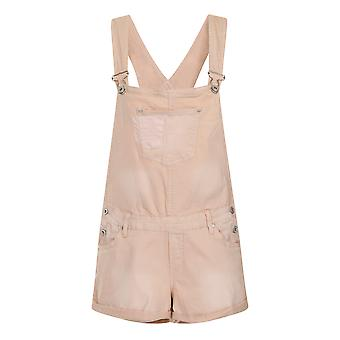 Womens Dungaree Shorts - Warm Beige Sizes 8-10 Fashion Summer Festival Shortall