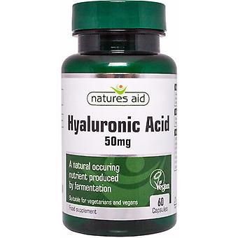 Natures Aid Hyaluronic Acid 50mg, 60 Caps. Suitable for Vegans.