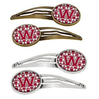 Letter W Football Crimson, grey and white Set of 4 Barrettes Hair Clips